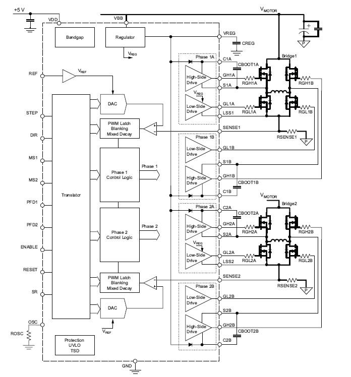 a3986 a3986sld 带微步转换器的双路全桥式 mosfet 驱动器